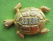 Tone Turtle Brooch Pin Large Crystal Rhinestone Gold