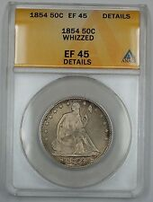1854 Seated Liberty Silver Half Dollar ANACS EF-45 Details Whizzed