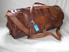 "Handmade Goat Leather DMR+ 20"" Duffel Overnight ROUND Bag *Free Leather Care*"