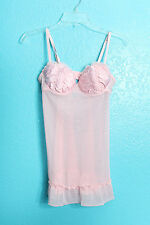 Flora's Follies Nightie Lingerie Size S Baby Light Pink Lace Chiffon Pinup VLV