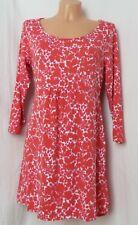 Jerseykleid Johnnie Boden direct 40 rot weiß pink Blumen geblümt Viskose