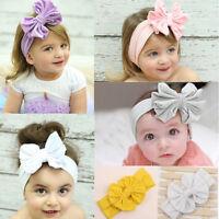 UK Girls Kids Baby Cotton Bow Hairband Headband Sweet Turban Knot Head Wrap