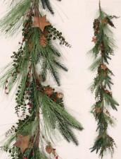 """PINE WINTER GARLAND 66"""" LONG With PINECONES, RUSTY STARS AND  RED BERRIES"""