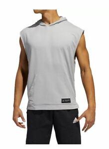 adidas Mens Urban Global Sleeveless Hooded T-shirt S M L Gray