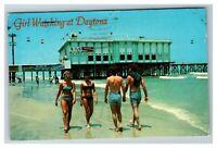 """Girl Watching"" at Daytona Beach FL Pier c1980 Postcard J27"