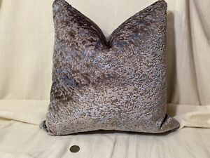 """18""""sq HOLLY HUNT 4550/01 Giverny Taupe Fog Velvet Fabric PILLOW COVER $340Retail"""
