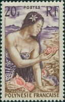 French Polynesia 1958 Sc#190,SG12 20f Polynesian Girl on beach MNH