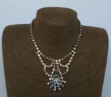 Vintage Aurora Borealis Rhinestones Necklace 1950's 1960's