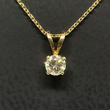 14 Karat Yellow Gold .20 Carat Diamond Solitaire Pendant With Cable Chain
