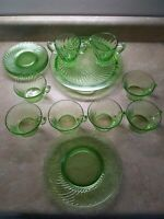 14 VTG Green Depression Glass Lot Plates, Mugs, Sugar, Creamer Swirl