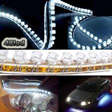 """2x 19"""" White 48 LED Flexible Side Glow Strip Daytime Running Driving Light 12V"""