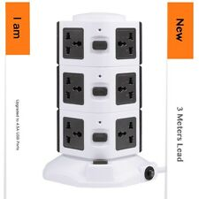 Vertical Tower 10 Way + 4USB 4.5A Overload Protected  Extension Lead Plug - 3m