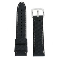 Black/Blue 18/20/22/24mm Silicone Wrist Watch Band Replacement +  2 Spring Bars