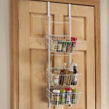 Over the Door Basket Metal Space Saving Storage Shelf Rack Home Tier Organizer