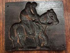 Antique Cookie Board Gingerbread Mold hand carved oak/chestnut Horseback rider