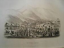 gravure Amérique  an 1850 Bolivie Carnaval à Potosi