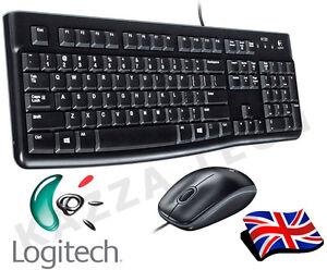Logitech MK120 Wired UK QWERTY KeyBoard & Mouse Bundle Desktop Combo Set Black