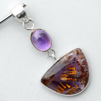 Cacoxenite Super Seven Mineral and Amethyst 925 Silver Pendant Jewelry SDP52336