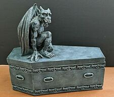 Large, Over 2 Lbs. Gargoyle Figurine On Coffin-Coffin Opens- Jewelry Box, Etc.