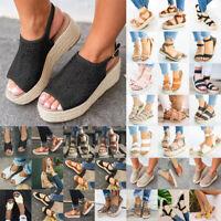 Women Platform Wedge High Heels Sandals Beach Summer Flip Flops Shoes Size6-10.5