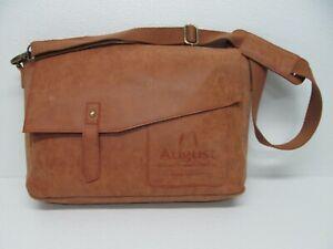 August Ventures Tan Leather Messenger Bag Crossbody