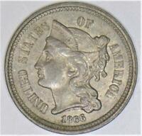 1866 Three Cent Nickel; Nice Uncirculated
