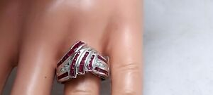 2.30Ct Genuine Natural Ruby And Diamond Ring In Solid 14K White Gold.,