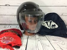 Vega Black Open Face Motorcycle Helmet Size L Large DOT Visor & Face Shield Bag