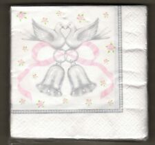 Wedding Napkins 16 Count Gray Pink White Bells Doves Rings Roses Silver Beverage