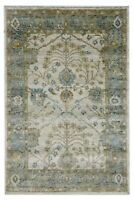 6 x 9 Oushak Hand Knotted Ivory Blue Wool Tribal New Oriental Rug Carpet