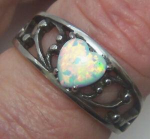 Heart Ring Wheeler Mfg. Man Made White Opal Stainless Steel 3102op New Jewelry
