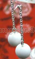 SALE Big 10mm White Natural High Quality Round Jade Dangle earring-ear145