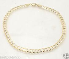 "8.5"" Men's Diamond Cut Curb Cuban Chain Bracelet Real Solid 14K Two-Tone Gold"