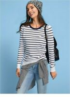 Womens Ladies GAP Jumper Long Sleeve Sweater Navy Stripe Cotton Top Size Nautica
