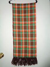 """(2957) Vintage Tartan PLAID Scarf Brown orange & Green WOOL with tassels 13x66"""""""