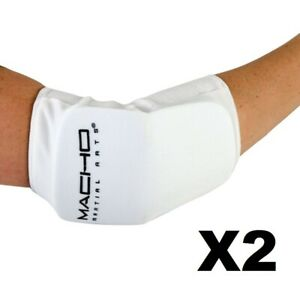 Macho Martial Arts Cloth Elbow Guard White Adult 2 Pack