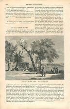 Terrasse Villa Celimontana/Mattéi Rome par Camille Saglio GRAVURE OLD PRINT 1863