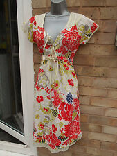 MONSOON ladies womens 100% cotton multicoloured floral summer dress size 8 S