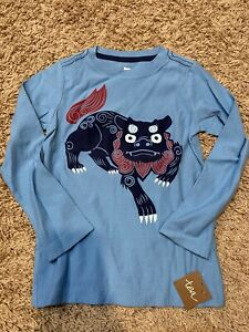 Tea Collection Boys Blue Chinese Dragon Shirt Size 5 NWT