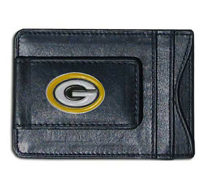 Green Bay Packers NFL Football Team Leather Card Holder Money Clip Wallet