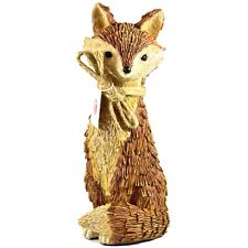 """Delton Products Rustic Natural Tan Brown Seated Sitting Fox 10"""" Resin Figurine"""