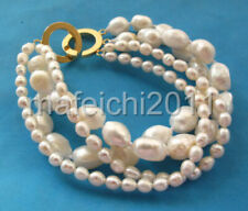 4 Strands White Rice&baroque Freshwater Pearl Bracelet 14k GP