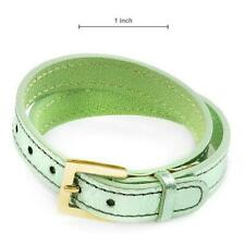 LALIQUE LAMBSKIN OUTER & COWHIDE LEATHER INSIDE GREEN TONE DOUBLE WRAP BRACELET