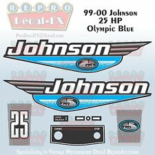 1999-00 Johnson 25 HP Olympic Blue Outboard Reproduction 9 Pc Marine Vinyl Decal