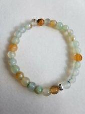 Green moss agate, & silver tone bead bracelet 6mm handmade