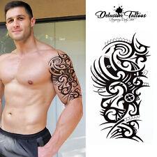 TRIBAL DRAGON TEMPORARY TATTOO, AZTEC, BLACK, MENS, WOMENS, STICK ON TATTOO ARM
