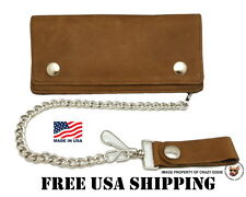 DISTRESSED COWHIDE LEATHER BIKER CHAIN WALLET * MADE IN USA * FREE USA SHIP