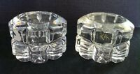 Vintage Hand Cut Lead Crystal Mikasa Glass Set of Two Candle Holders Collectible