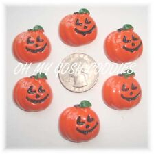 6PC HALLOWEEN HAPPY PUMPKIN FLAT BACK FLATBACK RESINS 4 HAIRBOW BOW CENTER