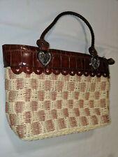 Marc Chantal Woven Handbag, Leather Trim, Braided Handles Heart Hardware